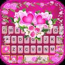 Pink Rose Flower Keyboard Theme